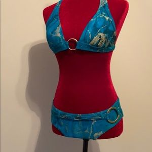 Red Carter teal and gold bikini NWOT